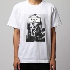"""Smoking kills"" Photo クルーネックTシャツ~Ver.1~ / ホワイト"