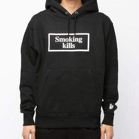 Puff paint SMOKING KILLS hoodie / ブラック