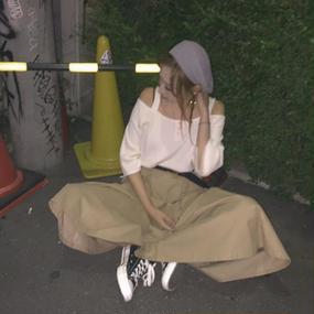chino long skirt
