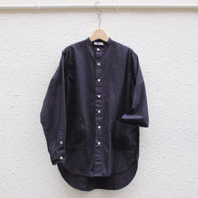 【yarmo / ヤ―モ】バンドカラーシャツ / ネイビー