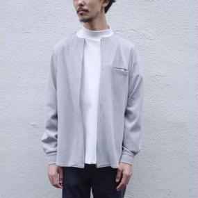【roundabout】ノーカラージップシャツ / グレー