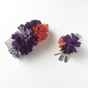 お花の櫛のセット / 紫紺と鹿の子