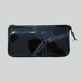 【受注生産アイテム!】Ball's Material - sen ryou -/千菱 ラウンド長財布 サッカーボールレザー ブラック×ホワイト
