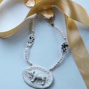 Joke Schole ceramic necklace pearl