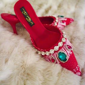ANGEL CHEN  bijou shoes red