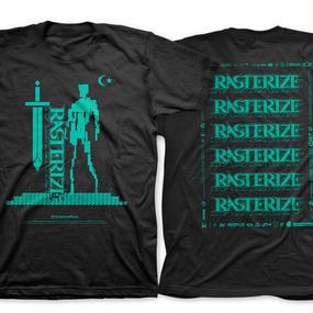 RASTERIZE  T-shirt(黒 x 緑)