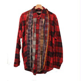Rebuild By Needles (リビルドバイニードルズ) Ribbon Flannel Shirt RED×BLACK - size M -