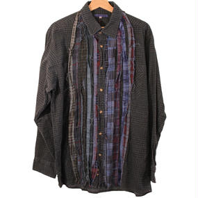 Rebuild By Needles (リビルドバイニードルズ) Ribbon Flannel Shirt INDIGO ×GREEN - size M -