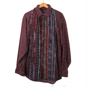 Rebuild By Needles (リビルドバイニードルズ) Ribbon Flannel Shirt INDIGO ×RED - size M -