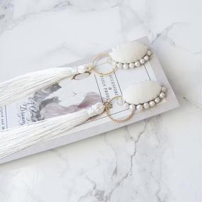 Flowing Planet Pierced Earrings - OVAL WHITE / PIERCE