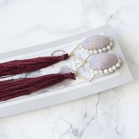 Flowing Planet Pierced Earrings - OVAL GRAPE RED / PIERCE
