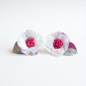 Camellia Pierced Earrings Neon Pink