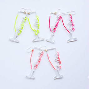 Arty Wire Pierced Earrings - cheers juice