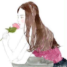 Rose Girl / FINE ART PRINT A4(NO FRAME)