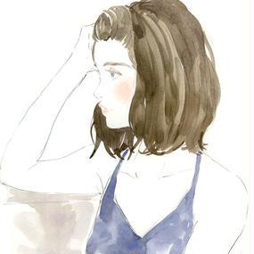 BLUE GIRL / FINE ART PRINT A4(NO FRAME)