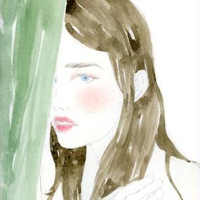 A GIRL BEHIND THE GREEN CURTAIN  /  FINE ART PRINT A4(NO FRAME)