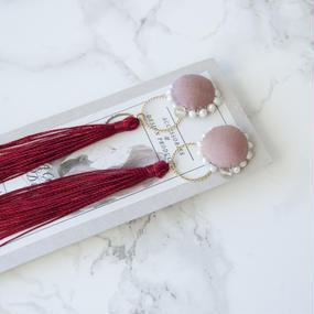 Flowing Planet Pierced Earrings - CIRCLE RED / PIERCE