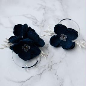 rakka ryuusui colour  - NAVY / EARRING