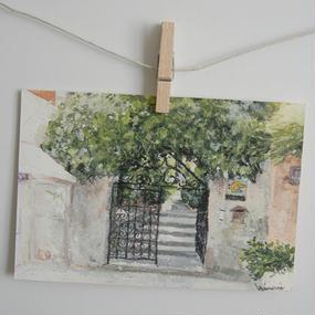 postcard / 庭のあるレストランの入り口