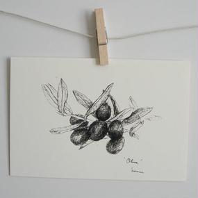 postcard / olive, pen