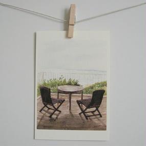 postcard / 海を眺める椅子とテーブル