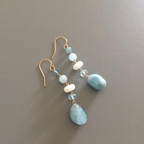 Aquamarine with White Earrings