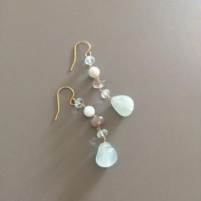 Aquamarine with Gray Earrings