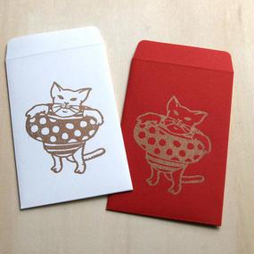 ポチ袋(猫が海水浴)