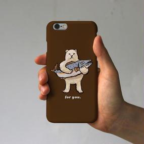 スマホケース シロクマのプレゼント(ブラウン)