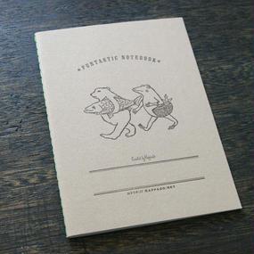 活版印刷ノート(無地) クマとカエル買い物