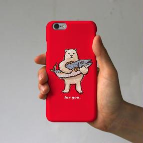 スマホケース シロクマのプレゼント(レッド)