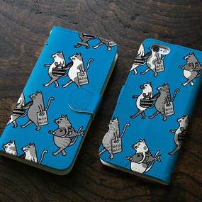 スマホケース 猫たち行進(ブルー&ブラック)