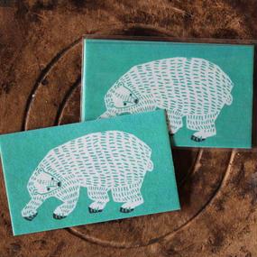 土佐和紙メッセージカード:シロクマ