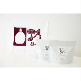 ホホホ茶 煎茶100g×2袋+銀座たくみオリジナル柚木沙弥郎ふきん(えんじ/花瓶)