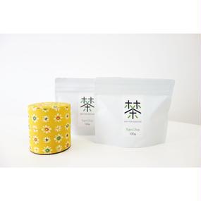銀座たくみオリジナル茶缶(黄色系)+ホホホ茶 煎茶リーフ100g×2袋セット
