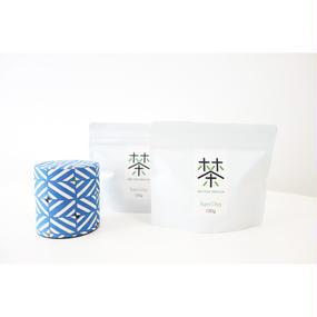 銀座たくみオリジナル茶缶(青系)+ホホホ茶 煎茶リーフ100g×2袋セット