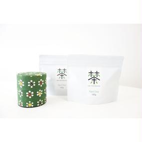 銀座たくみオリジナル茶缶(緑系)+ホホホ茶 煎茶リーフ100g×2袋セット