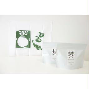 ホホホ茶 煎茶100g×2袋+銀座たくみオリジナル柚木沙弥郎ふきん(緑/かぶ)