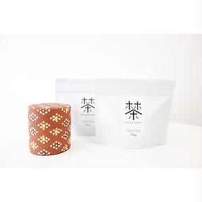 銀座たくみオリジナル茶缶(茶系)+ホホホ茶 煎茶リーフ100g×2袋セット
