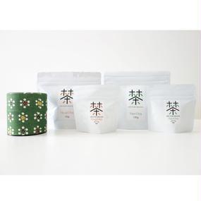 銀座たくみオリジナル茶缶+ホホホ茶 煎茶/ほうじ茶 4点セット