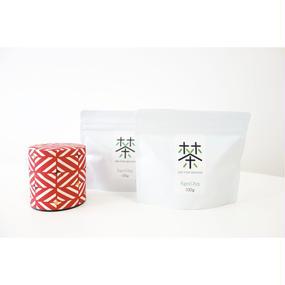 銀座たくみオリジナル茶缶(赤系)+ホホホ茶 煎茶リーフ100g×2袋セット