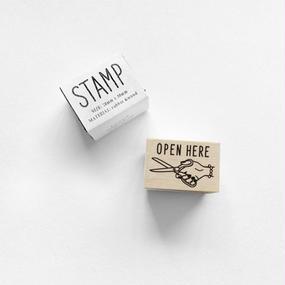 〈OPEN HERE〉スタンプ