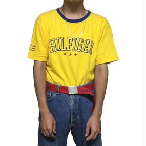 【USED】90'S TOMMY HILFIGER T-SHIRT YELLOW