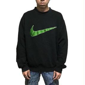 【USED】90'S NIKE LINE GREEN SWOOSH SWEAT SHIRT