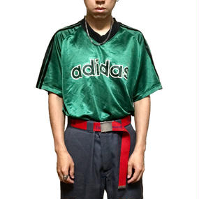 【USED】90'S ADIDAS  V-NECK S/S GAME T-SHIRT