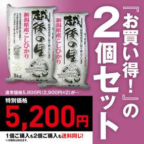 よつばフード 越後の里 新潟産コシヒカリ 循環型農業米(5kg)2個セット