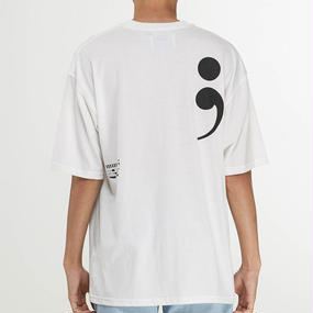 「MGI」WHITE SEMICOLON T-SHIRTS