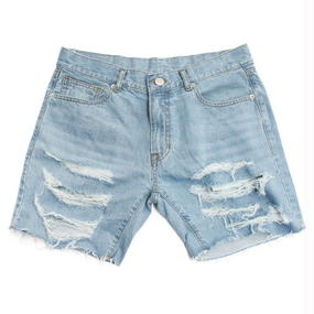 I AM NOT A HUMAN BEING[17SS] Basic Logo Destroyed Denim Shorts - Sky Blue