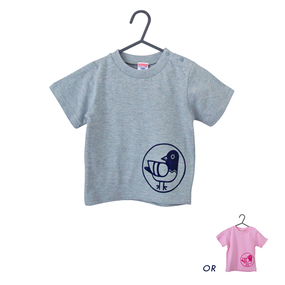 鳩キッズTシャツ(グレー/ピンク)