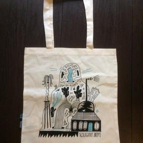 【幾何学模様】トートバッグ LPサイズ薄型 ナチュラル